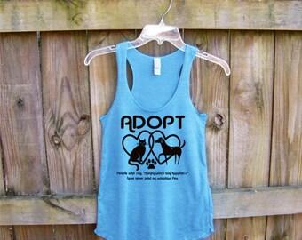 Tank workout, pastel, yoga tank top, Adopt shirt, turquoise, cat shirt, dog shirt, pet mom, animal rescue, racerback tank, pet lover, dogs