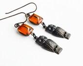 Owl Dangle Earrings Antique Brass Earrings Vintage Orange Glass Rhinestones Owl Jewelry Vintage Style Owl