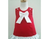 Girl Valentines Dress, Girl Birthday Dress, Red A line Dress, Baby Outfit, Baby Red Dress, Baby Jumper, Girl Party dress, Made to Order 0-3T