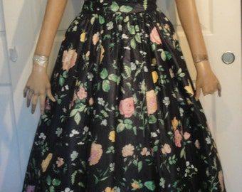 Vintage 80s Black Floral Polished Cotton Strapless Party Dress S. G. Gilbert 6 B36