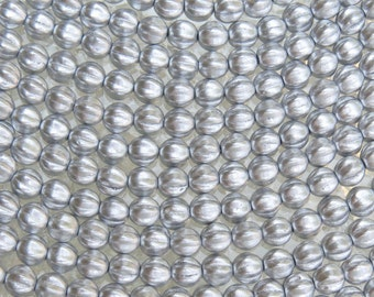 6mm SILKY Gold Czech Glass Melon Beads - Qty 25 (BW168)