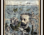 Vintage French Periodical Cover published in 1884 Giclee Print  Jules Verne Underwater Deep Sea