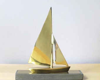 solid brass sailboat english slate paperweight nautical decor