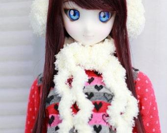Cream BJD Scarf and Earmuffs Set - Dollfie Dream or SD Size Headband- Cute Doll Clothes - ABJD Accessory for 8-9 Head