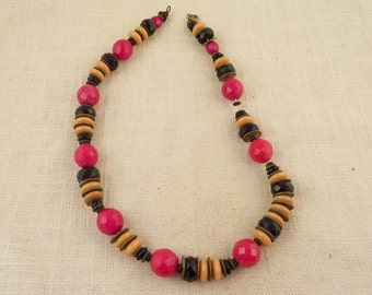Vintage Necklace with Red Black and Cream Faceted Glass Beads