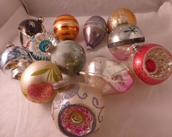 Lovely Group of 12 Vintage Christmas Glass Ornaments Various Shapes Sizes In Shiny Brite Box