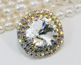 Clear Crystal AB Brooch Pin Swarovski White Crystal AB 18mm Sparkly Bridal Pin Crystal Lapel pin Rhinestones Brooch, gold finish,Clear,GA6