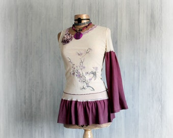 Funky One Sleeve Top Purple Boho Shirt Upcycled Recycled Eco Friendly Clothing Stretchy Fitted Hippie Blouse Bohemian Clothing XS/S 'TALULA'