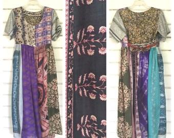 VINTAGE 70s INDIA silk gauze patchwork maxi dress