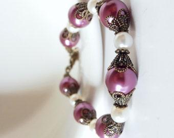 Sangria Bridesmaid Jewelry, Pearl Bracelet, Antiqued Vintage Style Wedding Jewelry Sets, Plum and Ivory Bridesmaid Bracelets, Purple Pearls