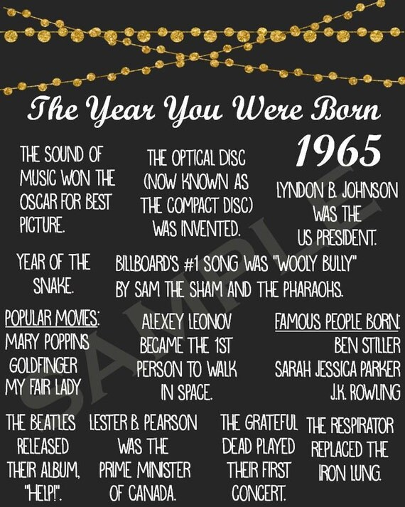 Bright image throughout the year you were born printable
