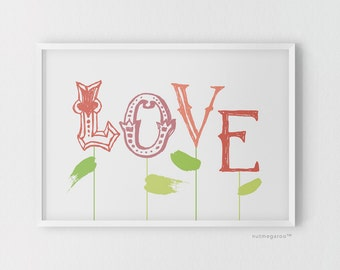 Love Blossoms nursery art printable - Digital Art Download - 8x10 Print Sizes