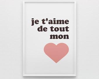 je t'aime de tout mon cœur French nursery art printable - Digital Art Download - 8x10 Print Sizes - Pink Heart
