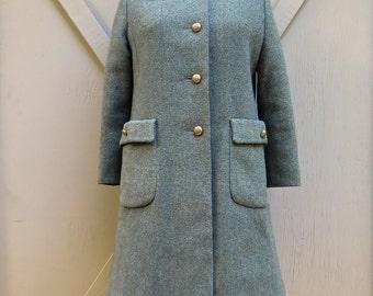 Mid Century vintage  Green Tweed Wool Coat