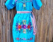 Mexican dress embroidered Turquoise & flowers size XL