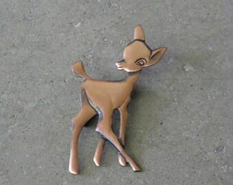 Vintage Solid Copper Deer Brooch