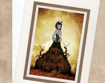 Greeting Card & Envelope  - Girl And Red Ants - King Of The Castle