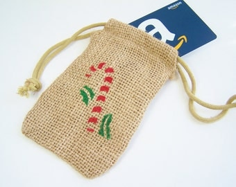 Red Candy Cane & Holly Burlap Gift Bag, Holiday Bag, Party Favor Bag, Stenciled Bag, Painted Gift Bag, Christmas Gift Card Holder