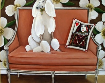 Fine Art Print of Original Painting- Off The Couch- standard poodle painting-