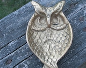Vintage Brass Owl Dish--Ring Tray--Paperweight--Ashtray--Jewelry Dish--Soap Dish--