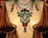 Dramatic Art Nouveau necklace HUGE chandelier drops Dragonfly centerpiece Rhinestones  Vintage czech glass statement piece