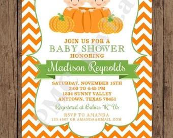 Custom Printed Chevron Pumpkin Twin Baby Shower Invitations - 1.00 each with envelope