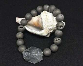 Midnight Grey Agate Druzy Nugget Bracelet