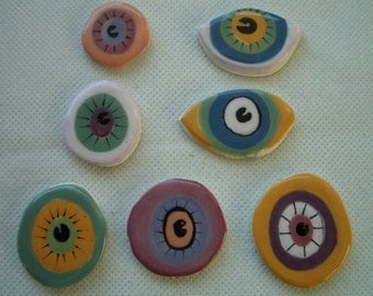 7K - EYES PIE - Fun Eye Tiles - Ceramic Mosaic Tiles