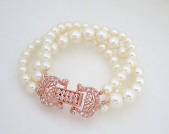Rose Gold Wedding bracelet, Rose Gold Bridal bracelet, Pearl bracelet, Bridal jewelry, Crystal bracelet, Swarovski bracelet, Vintage style