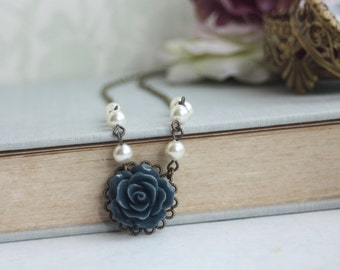 Dark Blue Rose Flower and Pearls Choker Short Necklace. Blue Rustic Wedding, Something Blue. Dark Blue Flower Girls Necklace, Bridesmaids,