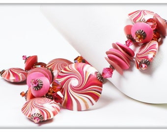 Cranberry Kiss... Handmade Jewelry Bracelet Beaded Cha Cha Polymer Clay Crystal Swirl Spiral Fuchsia Coral Hot Pink Bronze Antique Copper