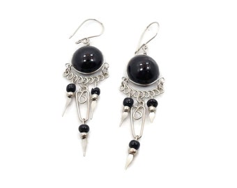 Peruvian Earrings, Gypsy Earrings, Silver Black, Vintage, Ethnic Jewelry, Boho, Long Dangles, Big Earrings, Statement , Hippie, Pierced
