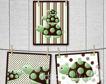Set of 3 Green and Brown Mod Turtle Children's ART PRINTS Room Decor