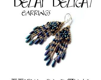 TUTORIAL - Long fringed earrings - DELHI DELIGHT - instant download