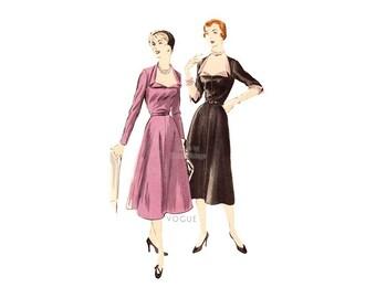 1950s Vogue Dress Pattern 7152, Easy Sewing, Flare Skirt, Low Neckline, Bust 34 Fit & Flare Dress, Lovely Cocktail Dress Vintage Pattern