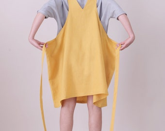 SALE The Good life pinafore - Washed mustard Linen - Apron style (Special price)