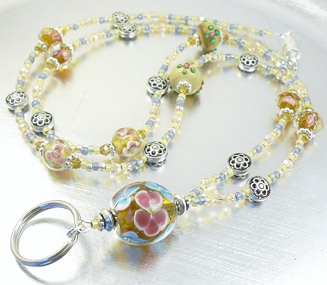 beaded id lanyard badge holder necklace blue pink and
