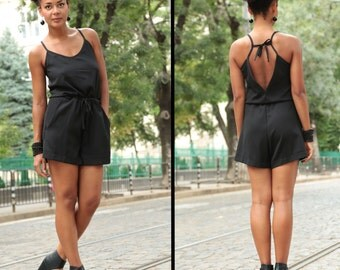 BDSM Clothing, Black Romper, Boho Jumpsuit, Women Overalls, Short Jumpsuit, Womens Shorts, Black Shorts, Sexy Jumpsuit, Sleeveless Jumpsuit