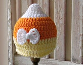 Baby Candy Corn Hat - Baby Girl Bow Hat - Candy Corn Baby Hat - Fall Baby Hat - Baby Costumes - Crochet Baby Hat - Fall Baby Photo Prop