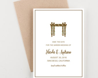 Garden Chuppah Save The Date, Wedding Invitation