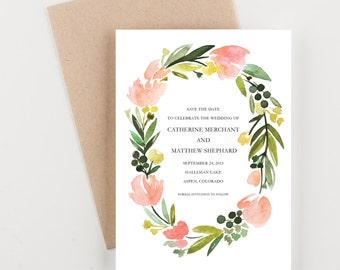 Botanical Watercolor Floral Wreath Save The Date, Pink and Green, Wedding Invitation, Bridal Shower, Rehearsal Dinner