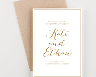 Gold Modern Calligraphy Save The Date, Bridal Shower, Wedding Invitation