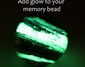 Glowing Galaxy Star™ UPGRADE for your memory bead order. Glowing, DNA glass, add luminescent powder, free UV black light keychain