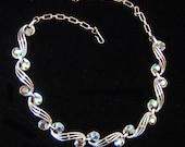 Vintage blue aurora borealis Necklace