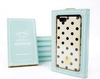 Polka Dot iPhone 6 Case, Preppy Polkadot iPhone 5S Case, Dots, Black and Cream , Prepster iPhone 6 Plus Case