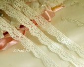 2 yd French Cotton Tulle Embroidered Bridal Lace Trim Soft Ivory Delicate Scalloped Edge 5/8""
