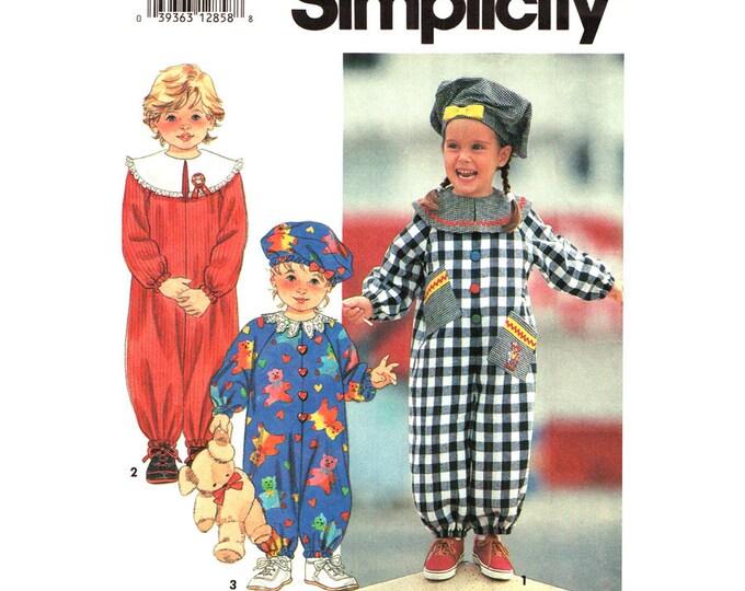 Girls Loose Raglan Jumpsuit & Slouchy Beret Hat Pattern Simplicity 7947 Toddler Size 2 3 4
