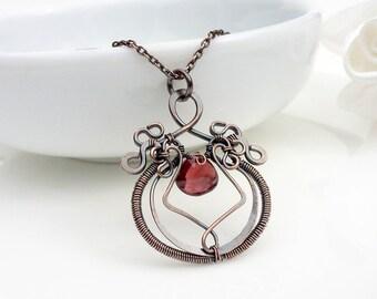 Garnet necklace, dark red garnet gemstone wire wrapped copper necklace, handmade copper jewelry