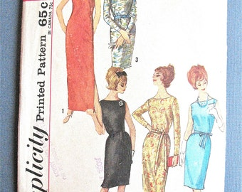 Vintage Early 1960s Simplicity 5016 Sheath Dress Cocktail Dress Evening Gown Mod Dress Vintage Sewing Pattern  Bust 32