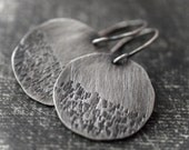 Hand hammered and texturized fine silver disc earrings